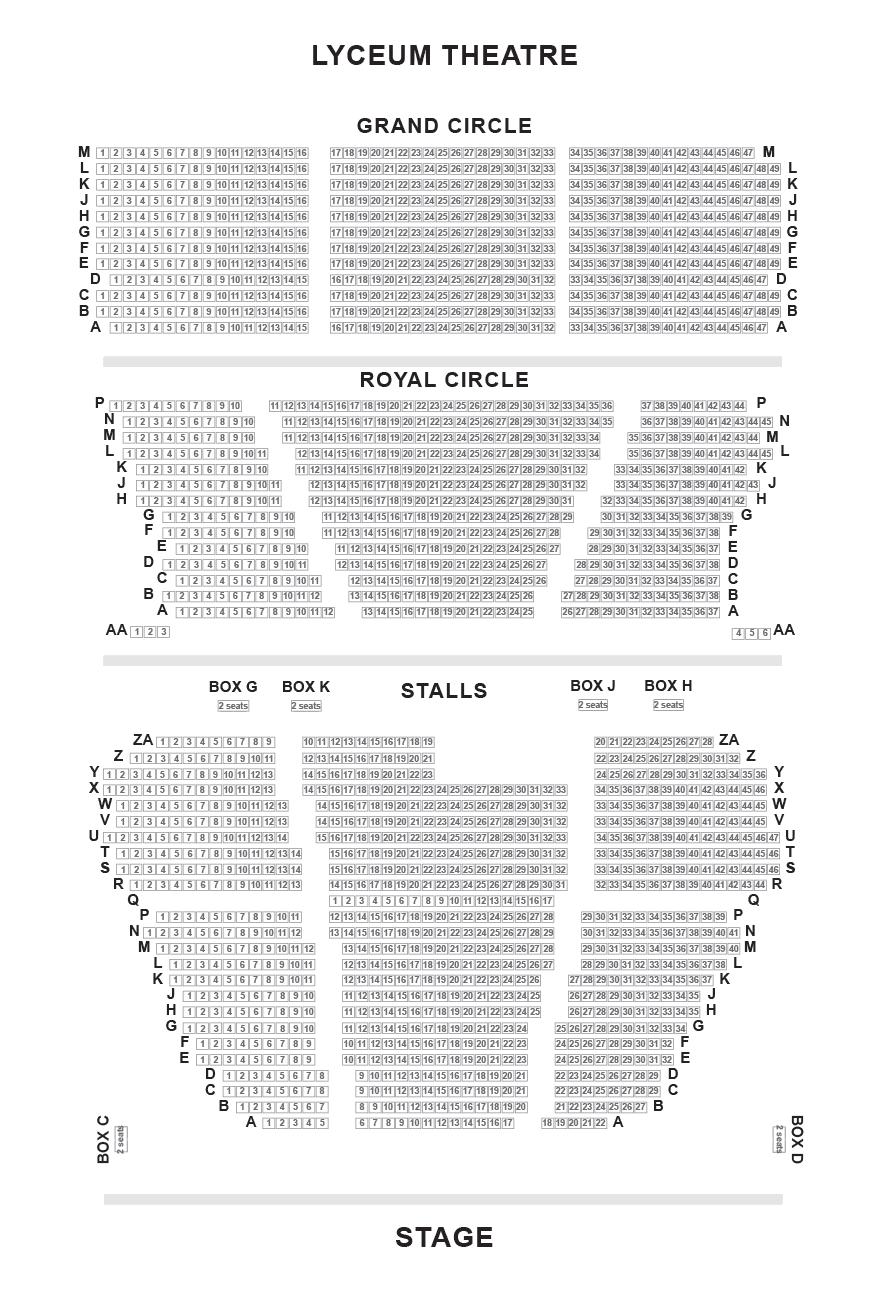 Lyceum Theatre Seating Plan