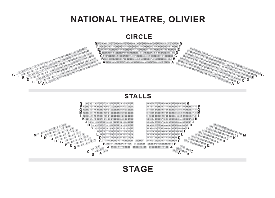 National Theatre - Olivier Theatre Seating Plan