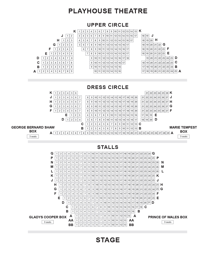 Playhouse Theatre Seating Plan
