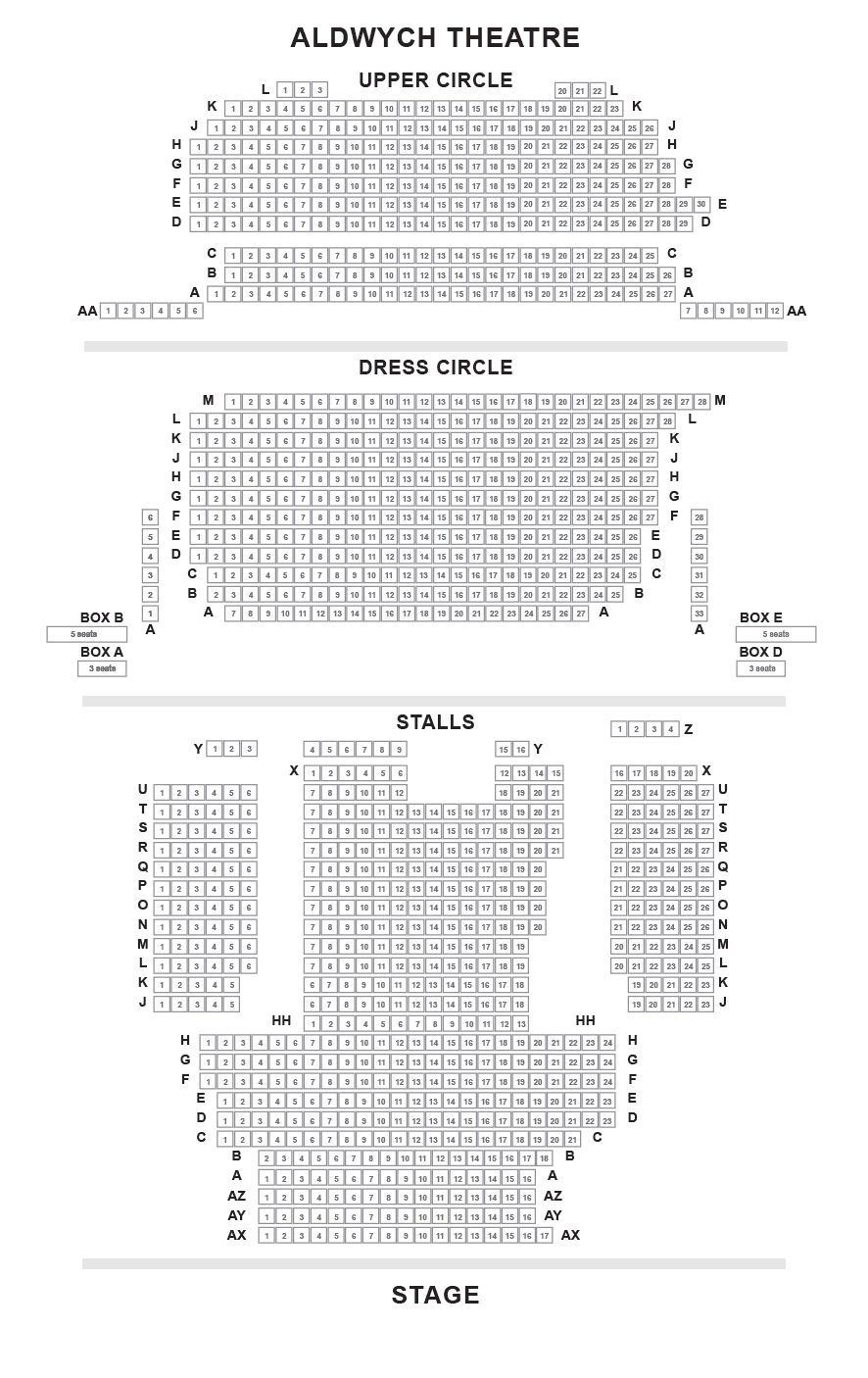 Aldwych Theatre Seating Plan