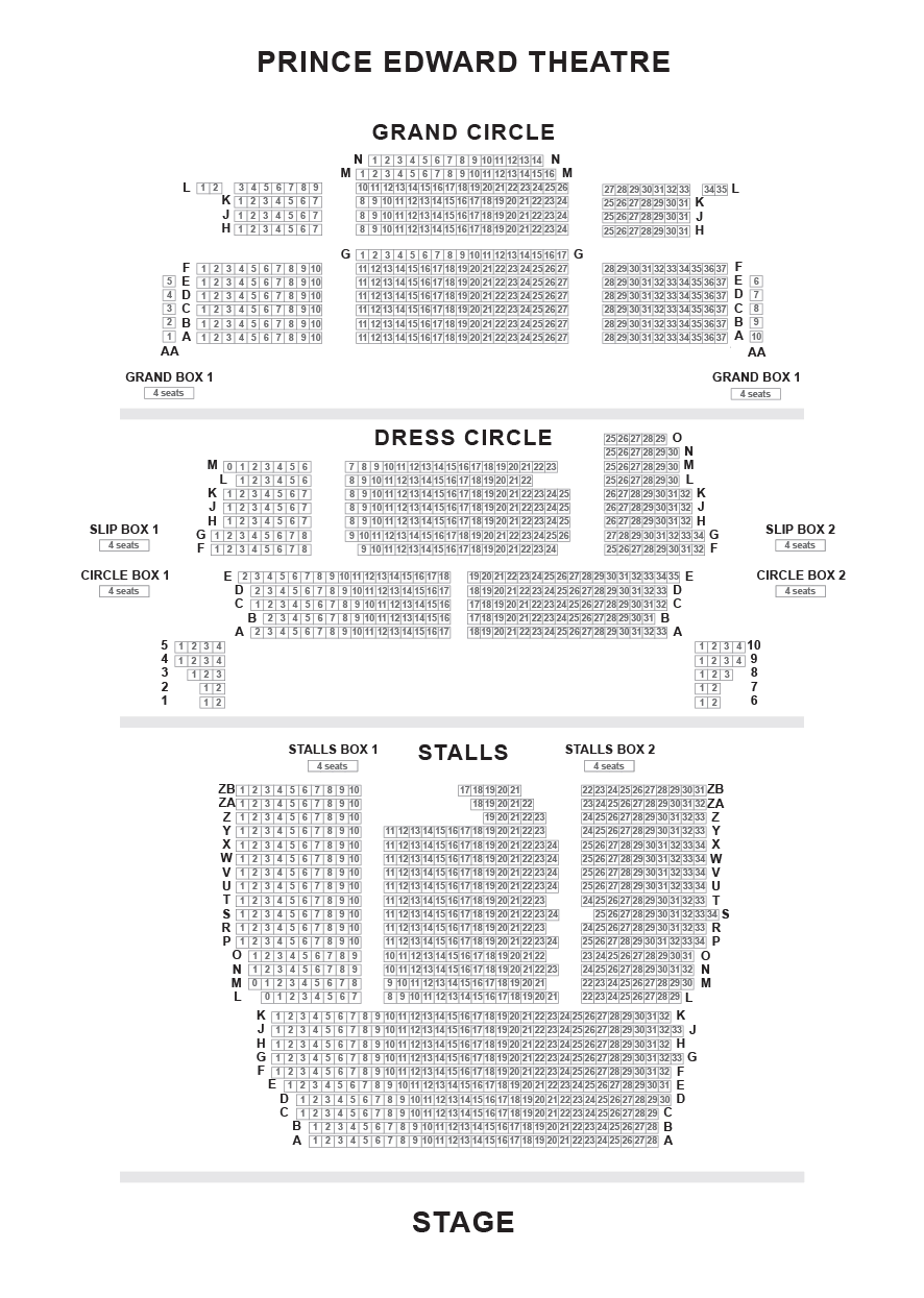 Prince Edward Theatre Seating Plan
