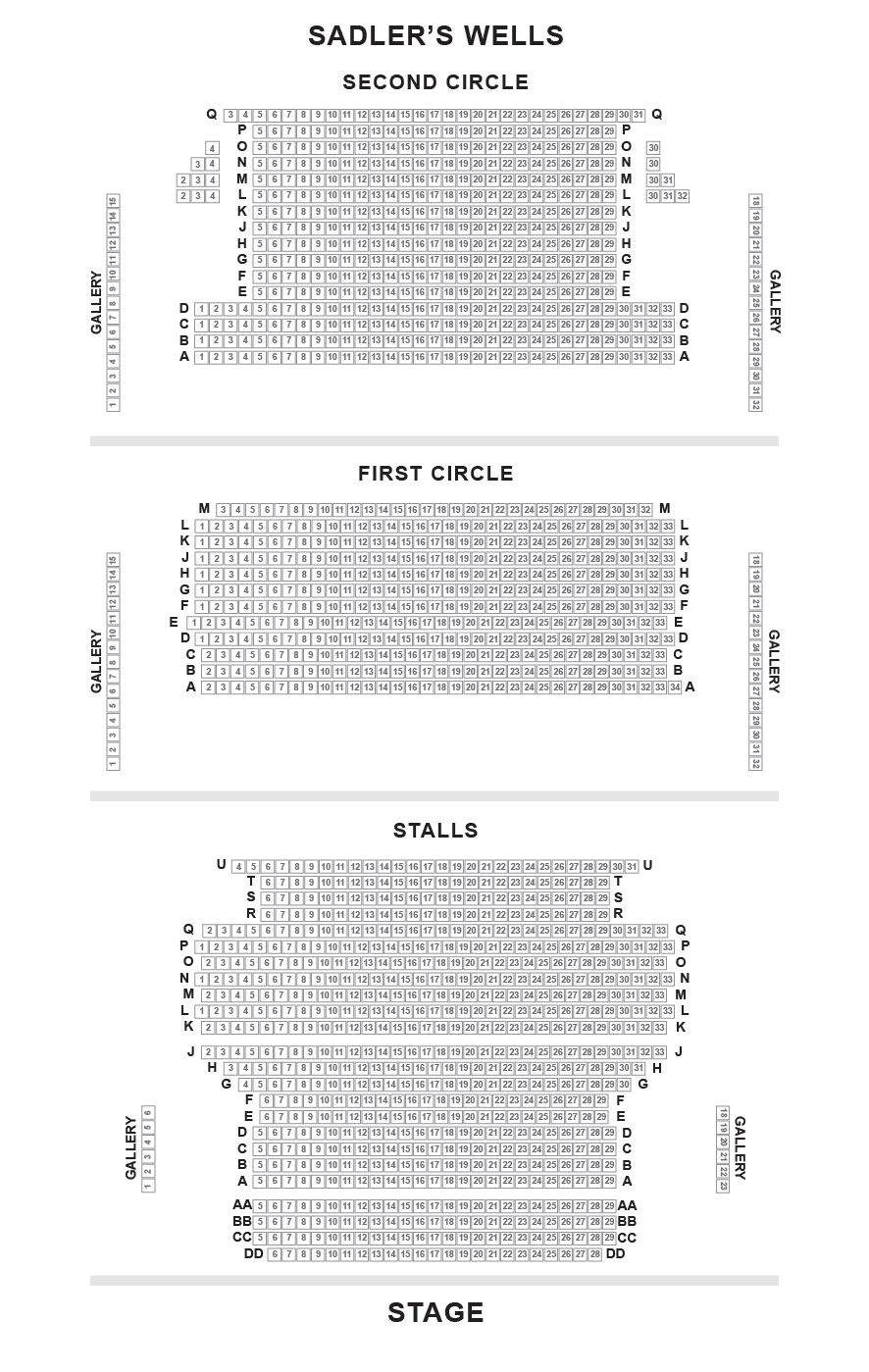 Sadler's Wells Theatre Seating Plan