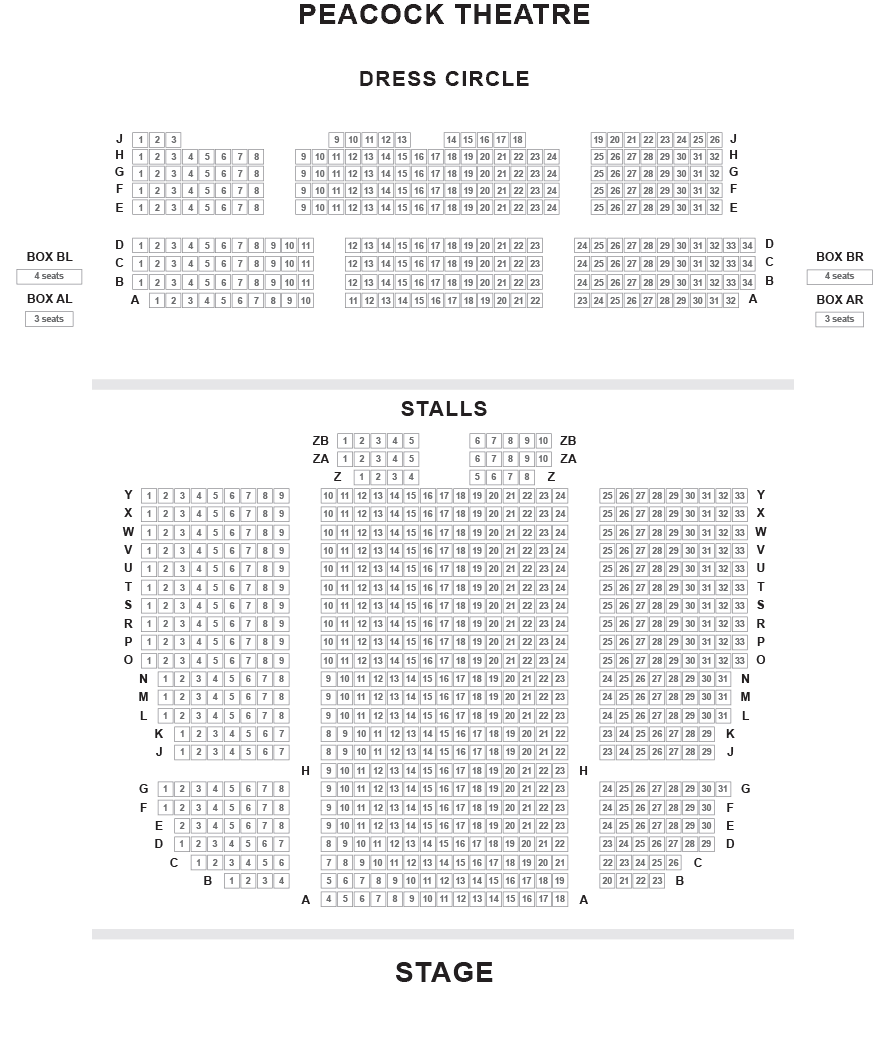 Peacock Theatre Seating Plan
