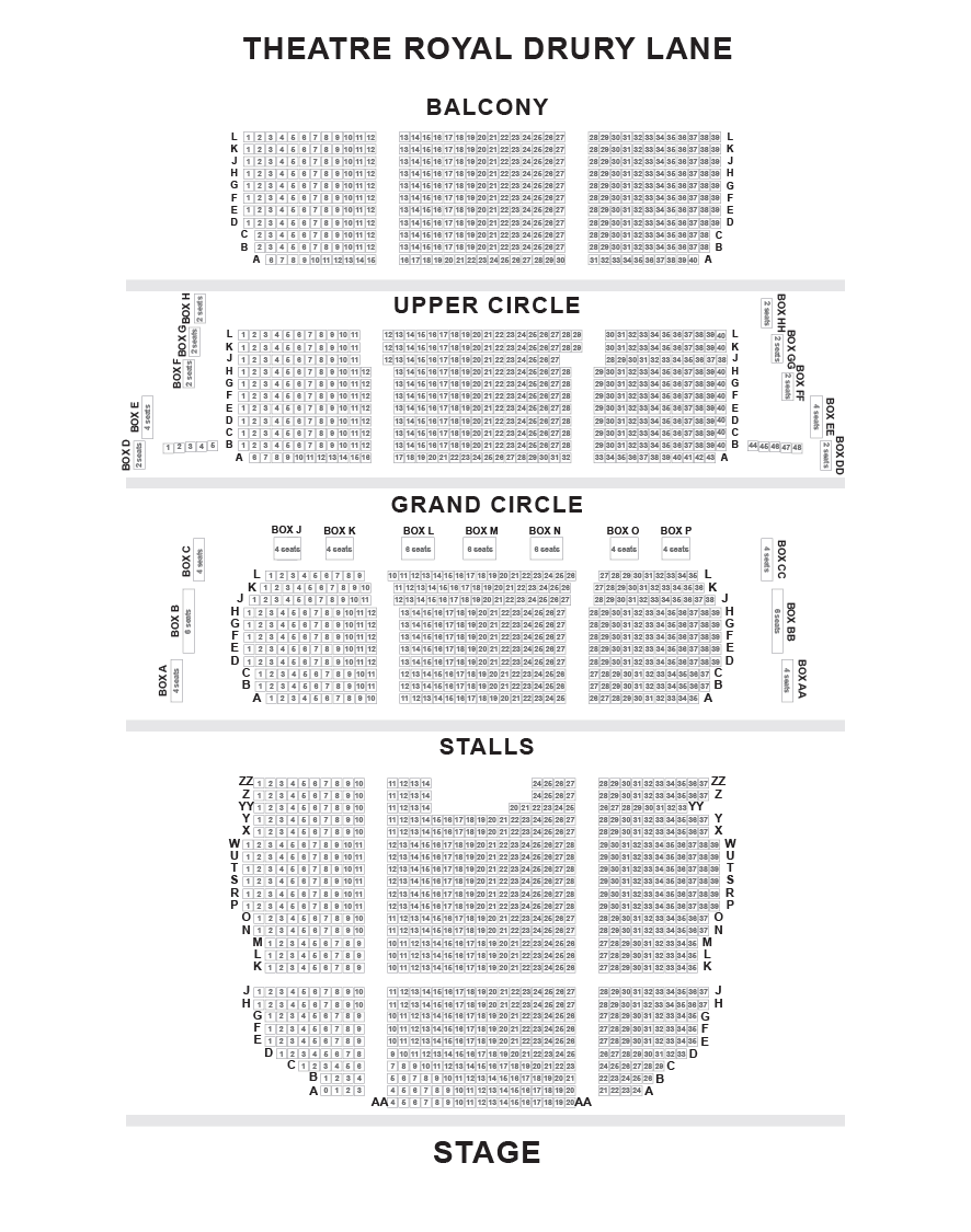 Theatre Royal Drury Lane Seating Plan