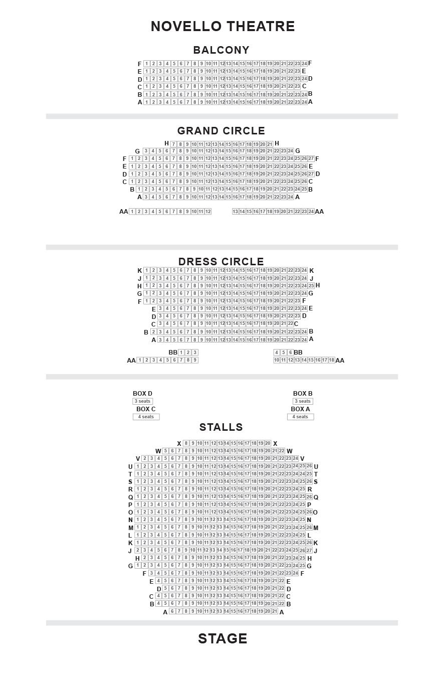 Novello Theatre Seating Plan