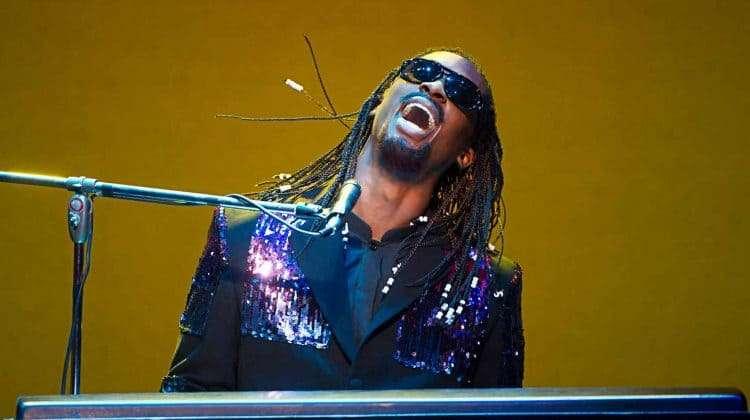 Jordan Shaw (Stevie Wonder) in Motown the Musical. Photo : Alastair Muir