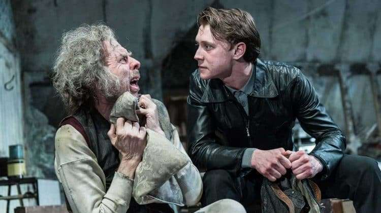 Timothy Spall (Davies), George MacKay (Mick) in The Caretaker at The Old Vic. Photo by Manuel Harlan.