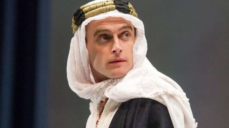 Jack Laskey (T.E.Lawrence) in Lawrence after Arabia at Hamsptead Theatre - credit Alastair Muir