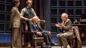 Ian McKellen as Spooner, Patrick Stewart as Hirst, Owen Teale as Briggs, Damien Molony as Foster in No Man's Land. Photo: Johan Persson