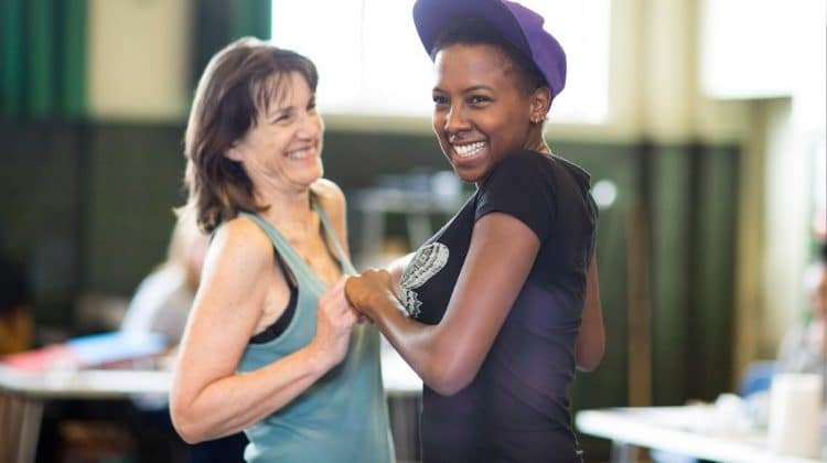 Harriet Walter (Brutus, King Henry IV,  Prospero) and Jade Anouka (Mark Antony, Hotspur, Ariel)  by Helen Maybanks