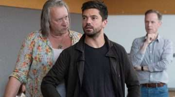 Jasper Britton, Dominic Cooper and Richard Teverson in rehearsals for The Libertine. Photo: Alastair Muir